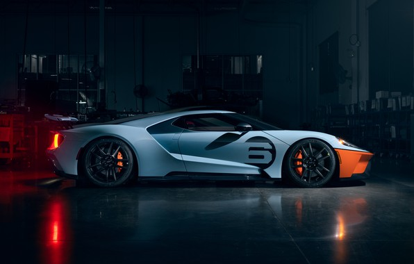 Картинка Ford, Форд, суперкар, Ford GT, supercar, 2020, Ford GT Gulf Racing Heritage Edition