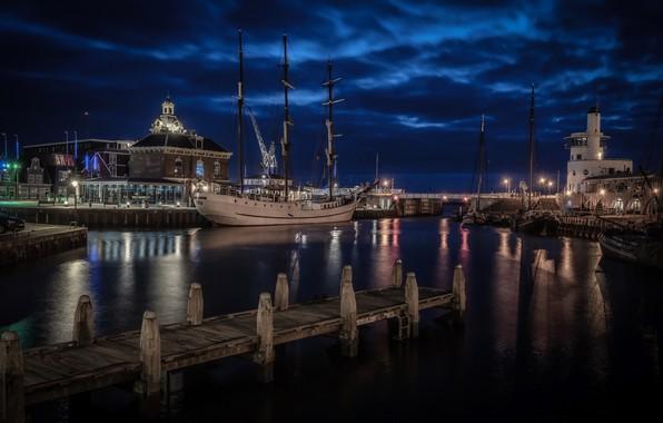 Картинка ночь, город, порт, Harlingen Port