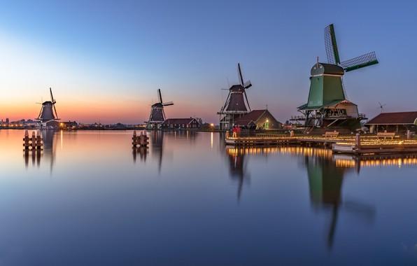 Картинка огни, вечер, мельницы, Нидерланды, Голландия, Zaanse Schans