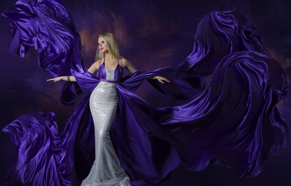 Картинка девушка, стиль, фон, макияж, платье