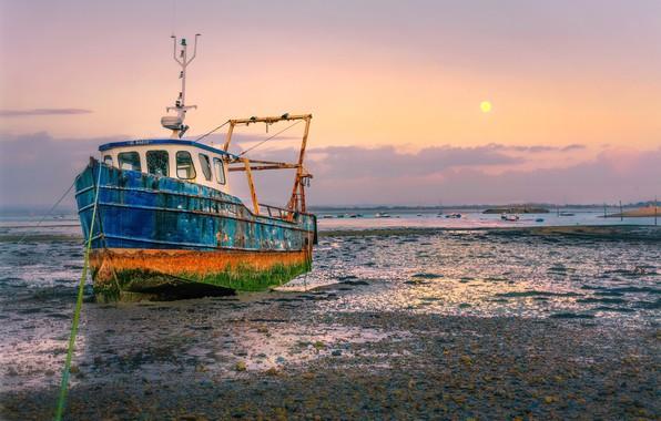 Картинка берег, корабль, мель
