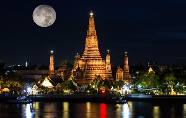 Картинка ночь, огни, луна, Таиланд, храм, Бангкок, Wat Arun