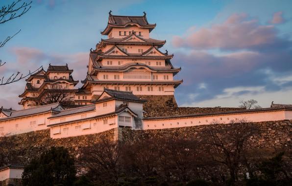 Картинка небо, замок, Япония, Japan, Himeji Castle, Химэдзи, Замок Химэдзи, Замое белой цапли, Himeji