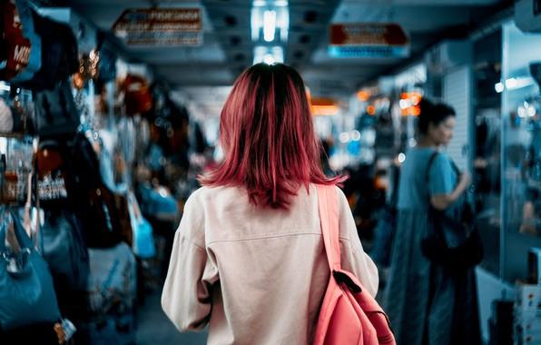 Картинка девушка, спина, цвет, розовые волосы