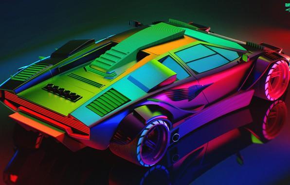 Картинка Авто, Lamborghini, Неон, Машина, Car, Art, Вид сверху, Neon, Countach, Рендеринг, Concept Art, Lamborghini Countach, …