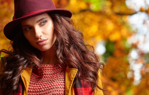 Картинка осень, девушка, шляпа, шатенка