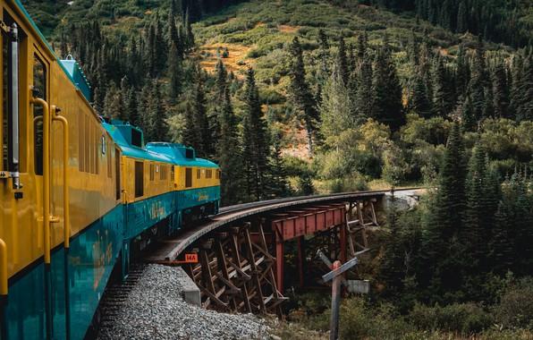 Картинка Alaska, forest, trees, nature, yellow, bridge, blue, mountains, landscapes, train, rails, tracks, train tracks, 4k …