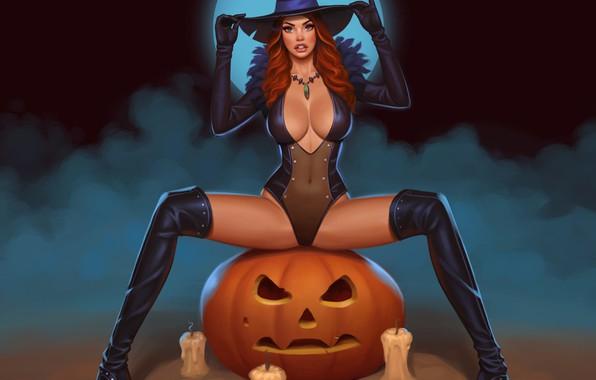 Картинка туман, свечи, рыжая, летучие мыши, полнолуние, halloween, ботфорты, светильник Джека, witch, тыква с глазами, ведьма …