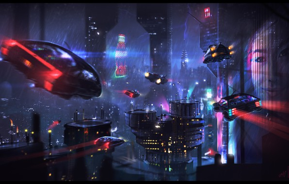 Картинка Ночь, Город, Будущее, Неон, Небоскребы, Машины, City, Car, Фантастика, Neon, Cyberpunk, Dominique van Velsen, by ...