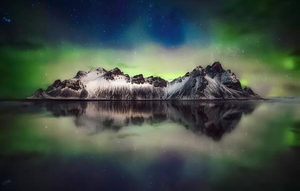 Картинка небо, звезды, горы, ночь, северное сияние, Исландия, мыс, Stokksnes, Стокснес