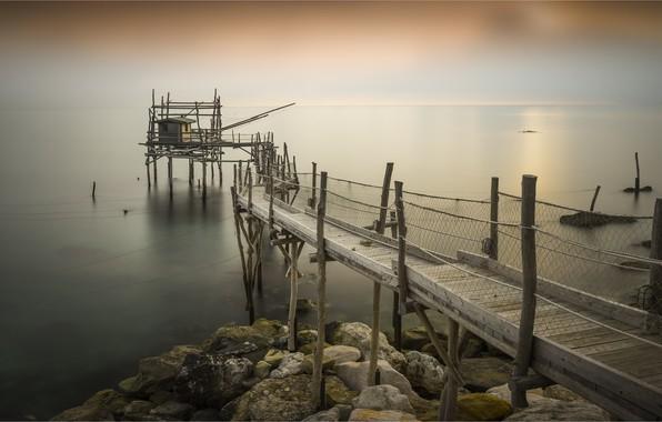 Картинка море, побережье, Италия, пирс, Abruzzo