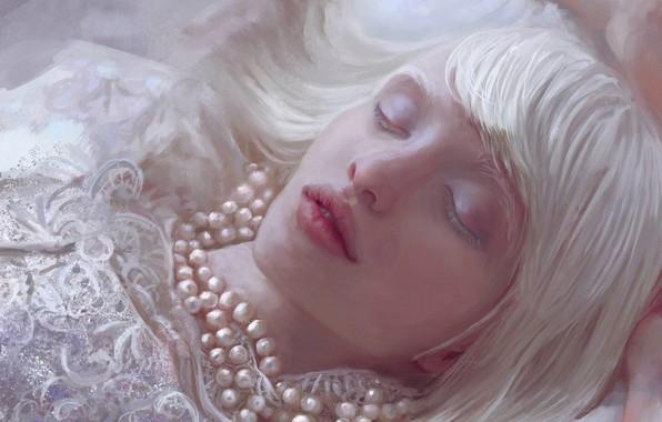 Картинка Девушка, Рисунок, Блондинка, Губы, Лицо, Girl, Волосы, Бусы, Лежит, Арт, Art, Blonde, Face, Lips, Hair, …