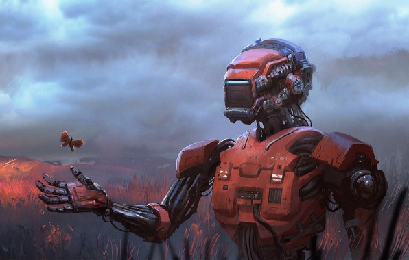 Картинка fantasy, Robot, field, science fiction, butterfly, sci-fi, digital art, artwork, concept art, fantasy art, illustration, …