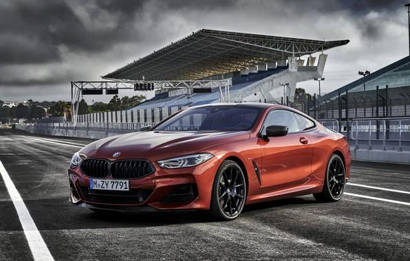 Картинка дорога, купе, BMW, Coupe, 2018, 8-Series, тёмно-оранжевый, M850i xDrive, 8er, G15