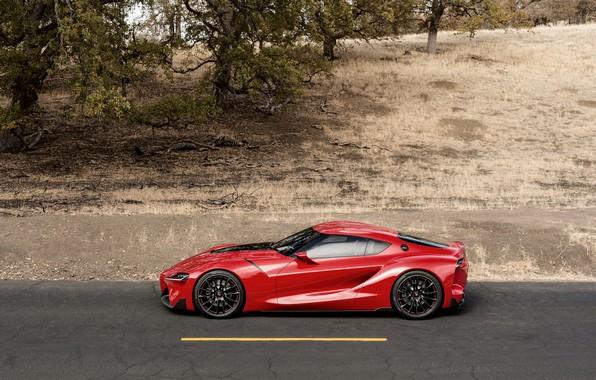 Картинка асфальт, красный, купе, профиль, Toyota, 2014, FT-1 Concept