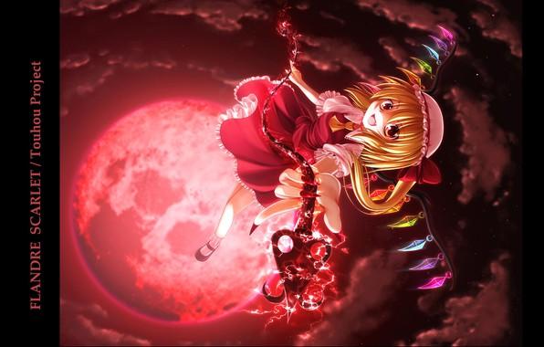 Картинка полнолуние, безумие, art, вампирша, Touhou Project, серые облака, черная магия, кровавая Луна, Flandre Scarlet, Проект …