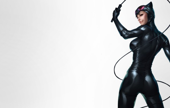 Картинка Beautiful, Art, Smile, Woman, Comics, Suit, Catwoman, Selina Kyle, Glasses, Gloves, Whip, DC comics, Leather, …