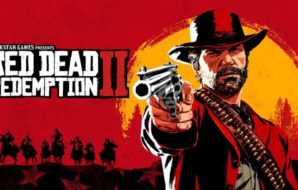 Картинка Игра, Лес, Лошади, Патроны, Шляпа, Борода, Куртка, Револьвер, Персонаж, Стреляет, Rockstar Game, Red Dead Redemption …