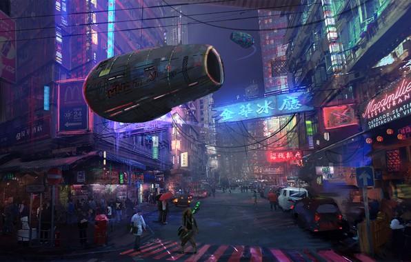 Картинка Авто, Город, Будущее, Неон, Улица, Люди, Движение, Машины, Здания, City, Архитектура, Cars, Auto, Street, Neon, …