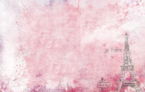Картинка фон, эйфелева башня, париж, текстура, винтаж