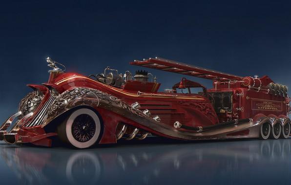 Картинка отражение, автомобиль, firefighter, оснащение, Steampunk car concept