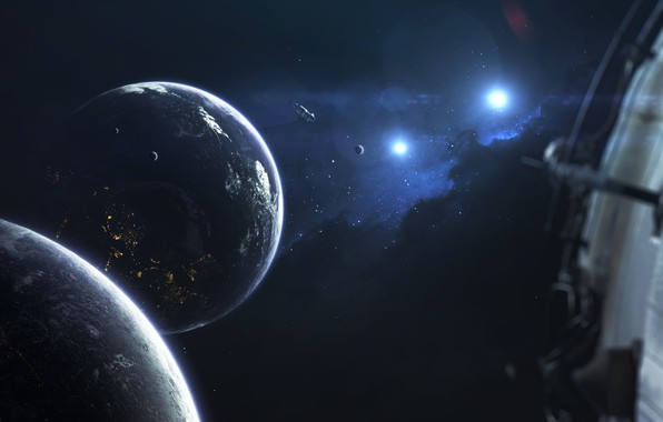 Картинка Звезды, Планета, Космос, Звезда, Планеты, Planets, Star, Арт, Stars, Space, Блик, Art, Космический Корабль, Спутник, ...