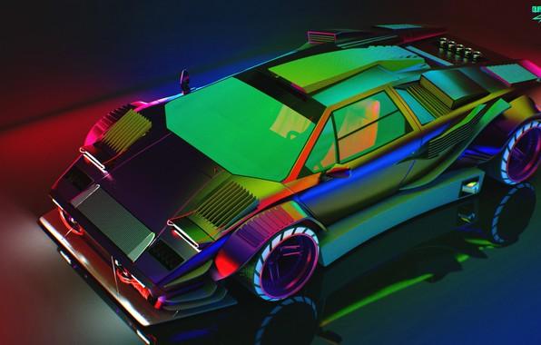 Картинка Отражение, Авто, Lamborghini, Неон, Машина, Капот, Car, Art, Neon, Countach, Рендеринг, Concept Art, Lamborghini Countach, …