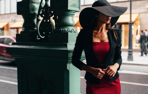 Фото обои стиль, модель, шляпа, красное платье, Daria Shy, Алексей Трифонов
