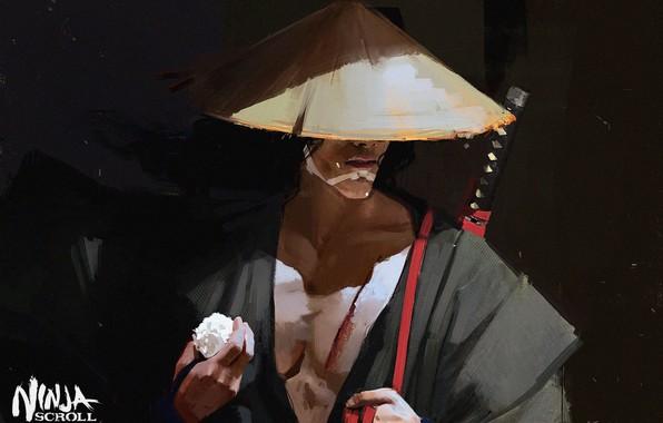 Картинка катана, самурай, рис, японская одежда, art, рукоятка, соломенная шляпа, Maciej Kuciara, Jubei, Манускрипт ниндзя, Ninja …