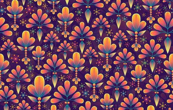 Картинка листья, снежинки, фон, графика, текстура, digital art, флора