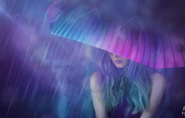 Картинка Девушка, Ночь, Рисунок, Зонтик, Арт, Art, Rain, Concept Art, Cyberpunk 2077, Science Fiction, Cyberpunk, Matte ...