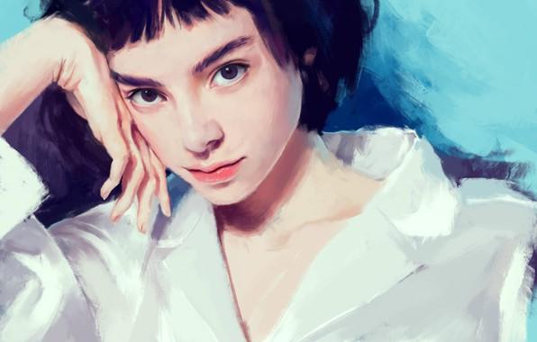 Картинка лицо, рука, черные волосы, art, чёлка, портрет девушки, белая блузка, Klara Blanc, Arkamness