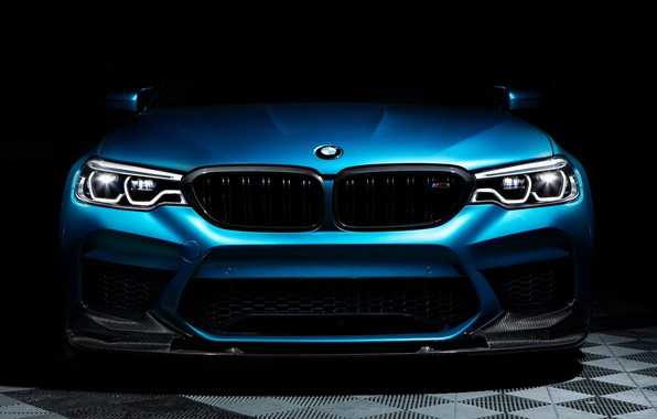 Картинка BMW, Blue, Front, Face, Sight, F90, Adaptive LED