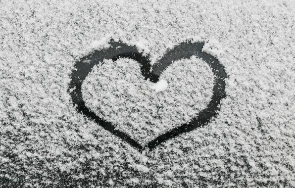 Картинка зима, снег, любовь, сердце, love, heart, winter, snow, romantic