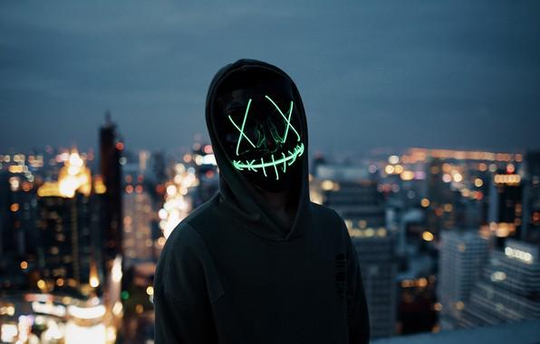 Картинка lights, dark, wallpaper, blur, neon, situations, anonymous, mask, silhouette, hood, 4k ultra hd background, city …