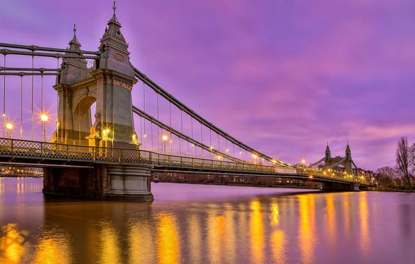 Картинка мост, река, Англия, Лондон, вечер, фонари, London, England, River Thames, Hammersmith Bridge, Река Темза, Мост …