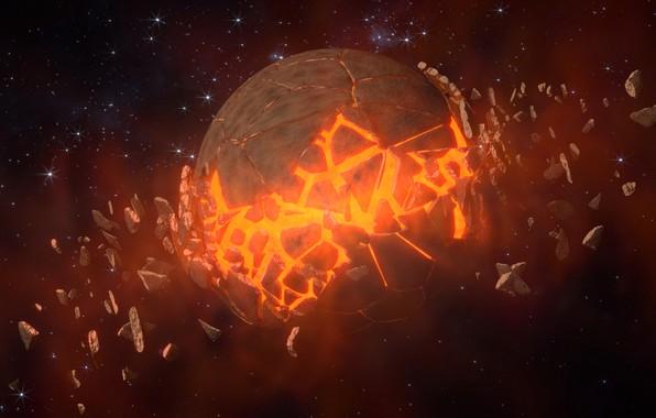 Картинка звезды, планета, катастрофа, разрушение