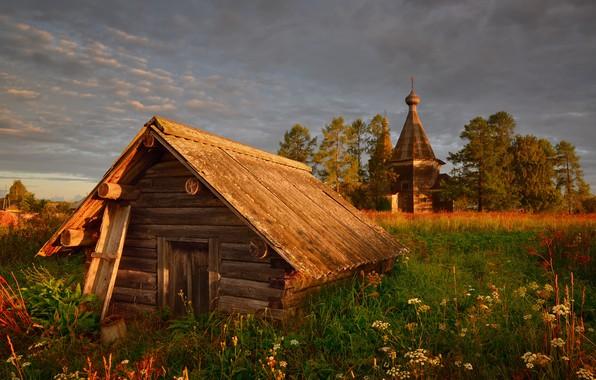 Картинка крыша, зелень, поле, лето, небо, трава, облака, свет, деревья, цветы, тучи, поляна, село, избушка, вечер, …