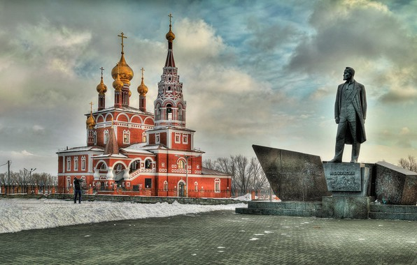 Картинка зима, памятник, церковь, храм, Россия, Борис Бусыгин, Богоявленский собор, Курган