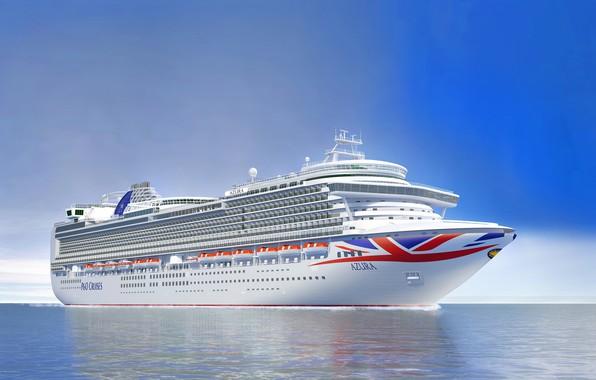 Картинка Океан, Море, Лайнер, Судно, Рендеринг, Пассажирское судно, Azura, Cruise Ship, Passenger Ship, Cruise Line, P&O ...