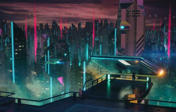 Картинка Музыка, Город, Небоскребы, Фантастика, Cyber, Cyberpunk, Synth, Retrowave, Synthwave, New Retro Wave, Futuresynth, Синтвейв, Ретровейв, ...