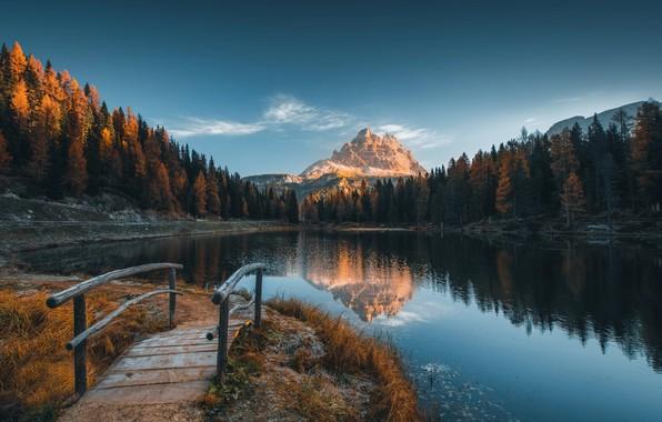 Картинка иней, осень, пейзаж, горы, природа, озеро, Альпы, Италия, мостик, леса, заморозки, доломиты, Valentin Valkov