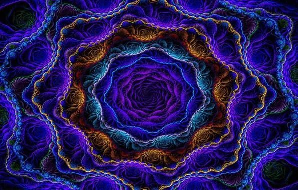 Картинка фракталы, неон, neon, компьютерная графика, fractals, красивый рисунок, игра цвета, iridescence, color game, computer graphics, …