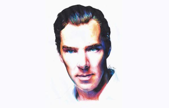 Картинка рисунок, портрет, Бенедикт Камбербэтч, Benedict Cumberbatch, цветные карандаши