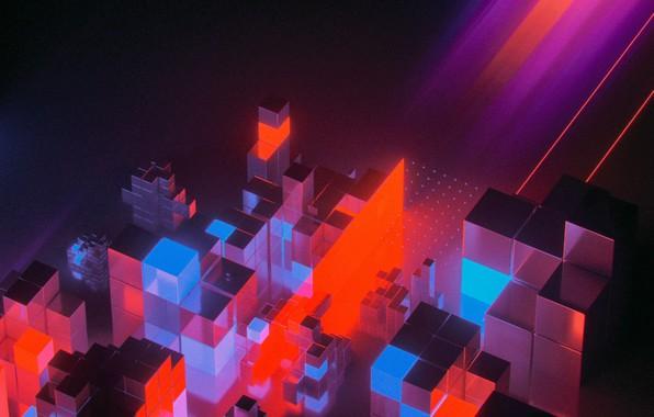 Картинка Музыка, Неон, Стиль, Кубики, Style, Neon, Рендеринг, Illustration, Synth, Retrowave, Synthwave, New Retro Wave, Futuresynth, …