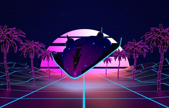 Картинка Музыка, Пальмы, Фон, Графика, Synth, Retrowave, Synthwave, New Retro Wave, Futuresynth, Синтвейв, Ретровейв, Outrun, Synthwaves ...