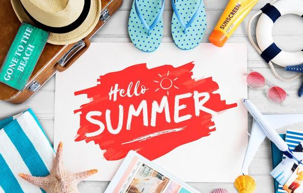 Картинка лето, фото, надпись, шляпа, очки, чемодан, планшет, сланцы