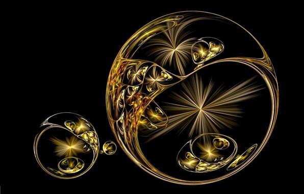 Картинка абстракция, рендеринг, фантазия, черный фон, картинка, вспышки, линии света, золотые сферы