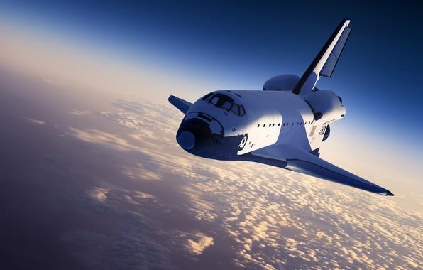 Картинка небо, солнце, космос, облака, Земля, шаттл, космический корабль, Space Shuttle