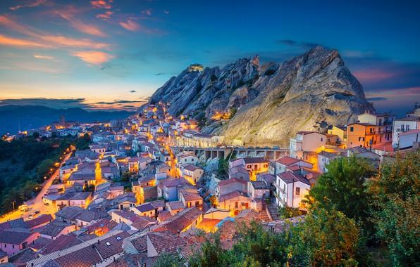 Картинка закат, горы, здания, дома, Италия, панорама, Italy, Базиликата, Basilicata, Пьетрапертоза, Pietrapertosa